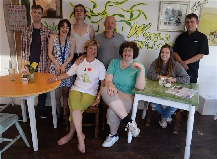 Wiggly Willow Cafe, Bishops Stortford. Syd Perry with members of the social club. The club is going for charitable status. .Pic: Vikki Lince. (13704855)