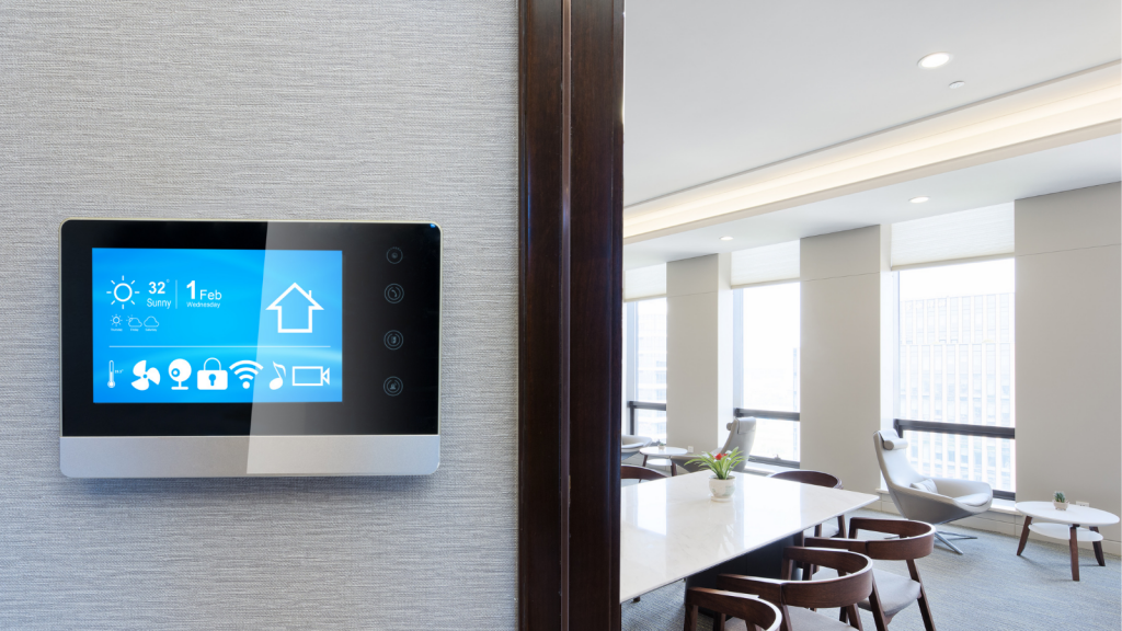 A smart building dashboard inside a workplace