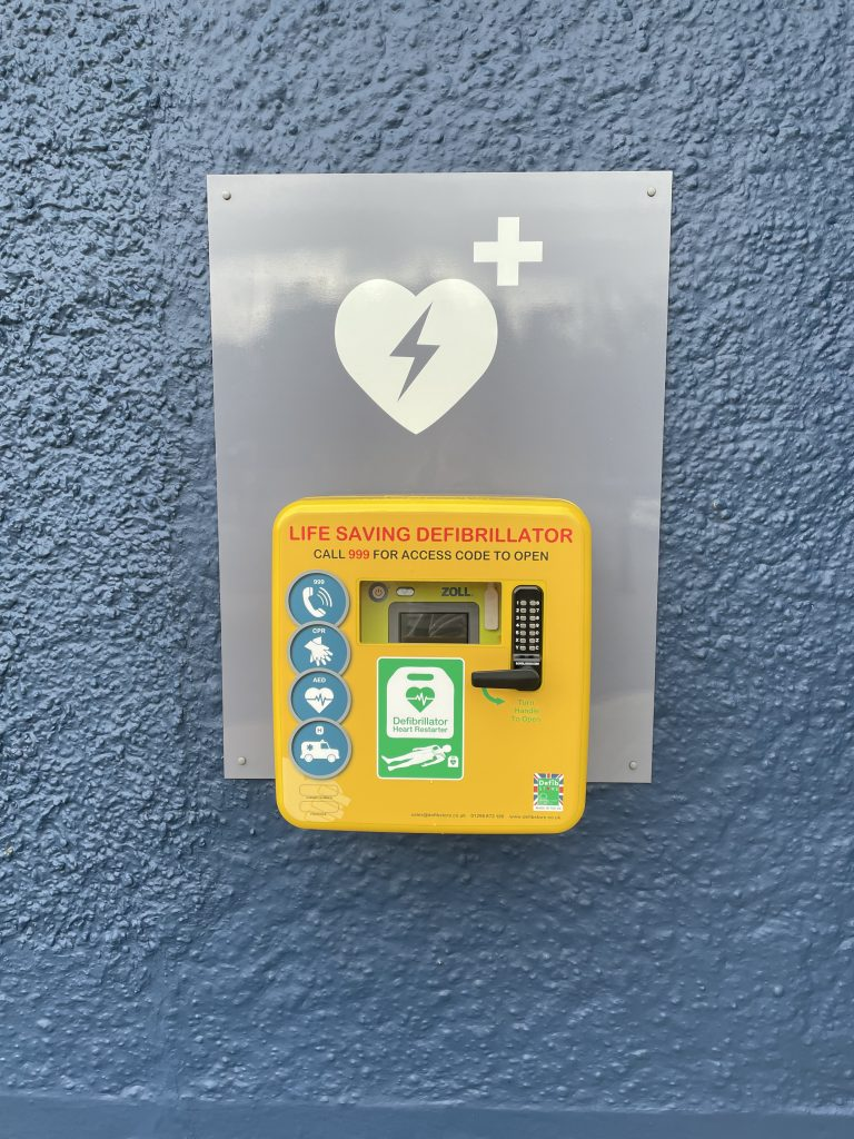 ITVET's defibrillator located on the office wall