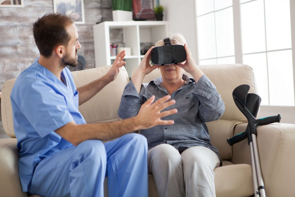 A patient using Virtual Reality
